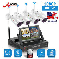 "ANRAN 1080P Wireless Security 2.0MP CCTV Camera System 4CH 7""Monitor NVR WiFi IR"
