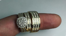 Yellow Gold Over Diamond His & Her Wedding Band Engagement Bridal Ring Trio Set