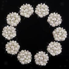 10x Crystal Rhinestone Pearl Flower Embellishments Button Flatback 22mm