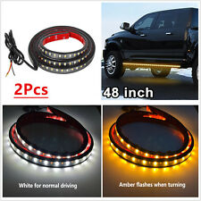 2 Pcs Amber White 48'' 120SMD LED Light Strip DRL Turn Signal Indicator Lamps