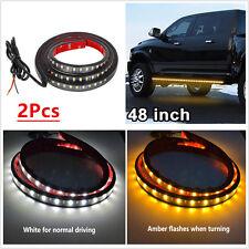 2 Pcs Amber White 48'' 120SMD LED Light Strip DRL Turn Signal Indicator Lamps