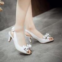 Womens Bowknot Pumps Patent Leather Kitten Heels Party Slingbacks Shoes Plus SZ