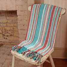 "Hampton Cove Coastal Stripe Cotton Throw 50"" x 60"" Turquoise, White, Red, Brown"