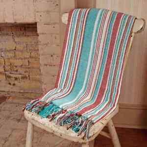 """HAMPTON COVE Coastal Stripe Cotton Throw 50"""" x 60"""" Turquoise, White, Red, Brown"""