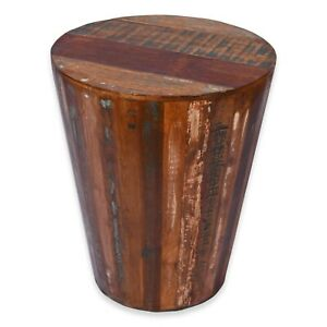 Rustic Reclaimed round cone shaped 18 inch Side table   Accent Table   End Table
