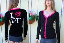 NEW PAUL FRANK JUNIORS top sweater black pink trim monkey logo button COTTON (S)