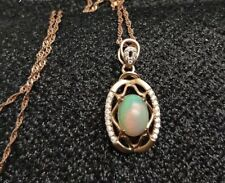 """925 Sterling Silver Genuine Natural Opal & Lab Created Diamond Necklace 17 -19"""""""