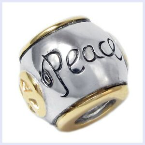 Sterling Silver Peace Barrel Bead Gold Trim and Sign for European Charm Bracelet