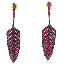 Ruby 14k Gold 925 Sterling Silver Feather Style Dangle Earrings Jewelry For Sale
