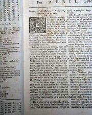 1780 West Florida Surrender to Spanish Revolutionary War London Uk Old Magazine