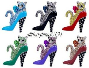 Crystal Encrusted Cat Sitting In A High Heeled Shoe Brooch Various Colours