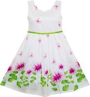 Sunny Fashion Girls Dress Purple Sunflower Green Leaves Butterfly Age 4-12