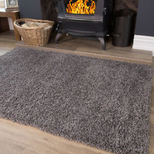 Grey Shaggy Rug Warm Cosy Bedroom Rugs Non Shed 3cm Pile Living Room Rugs