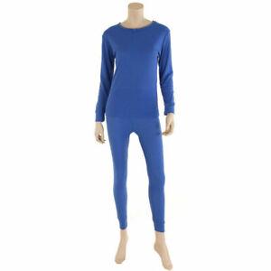 Womens 100% Cotton Thermal Long Johns Underwear Top & Bottom 2PC Set Waffle Knit