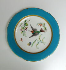 19th C Antique ROYAL WORCESTER Hummingbird Cabinet Plate ..dragonfly . butterfly