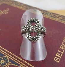 Vintage Sterling Silver & Marcasite Art Deco Ring 925 Silver