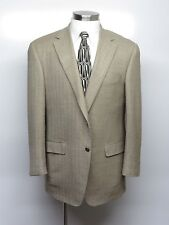 SAMUELSOHN Sport Coat 42R Beige Herringbone - 100% Wool - SUPER 100's $695