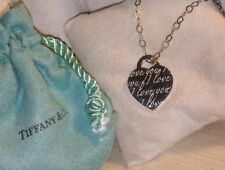 Auth Tiffany & Co T&Co Sterling Silver I LOVE YOU Notes Charm Pendant Necklace