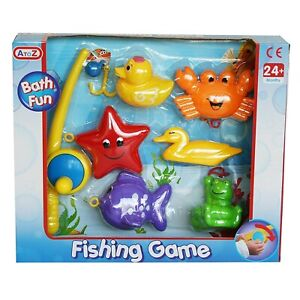 7Pcs Watery Creatures Fishing Game Set,Baby Plastic Floating Animals Bath Toys