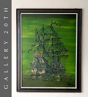 WOW! MID CENTURY MODERN SHIP PAINTING! VTG 50S GALLEON DRIP ART ATOMIC AGE DECOR
