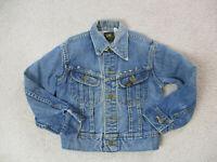 VINTAGE Lee Jean Jacket Girls Small Blue Denim Rancher Coat Youth Kids 90s A3*