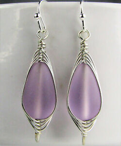 SEA GLASS Teardrop Purple Weave Wire SILVER Dangle Earrings USA HANDMADE