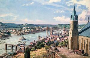 John Stobart Print - Cincinnati: A View from Mt. Adams c. 1875