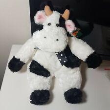 "Unipak COW PLUSH Beanie 12"" Fluffy Black & White Pillowbys Floppy LOVEY New"