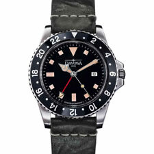 Davosa Vintage-Styled 100-Meter Dual-Time GMT Watch with Leather Band #16250055