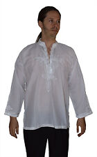 Men Tunic Shirt Cafan Moroccan Casual Handmade Embroidered Cotton XL White