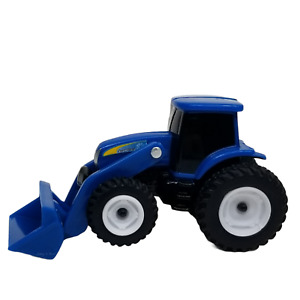 """New Holland Blue Plastic Tractor Front Loader Toy Vehicle 4"""""""