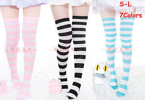 Candy Lolita Over-knee Stripe Cotton STOCKING Thigh High Sock Cosplay Maxi Long