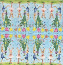 Lot de 3 Mouchoirs en papier Pâques Lapin Fleurs Decoupage Collage Decopatch
