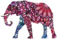 autocollant sticker voiture moto deco elephant fleur rose animal frigo