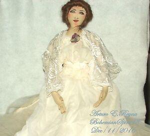 ARTURO E. Reyna VICTORIAN BRIDE WHITE LINING DRESS HUMAN HAIR SIGNED RAG DOLL