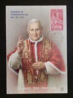 VATICAN MK 1958 PAPST JOHANNES POPE PAPA PAPIEZ CARTE MAXIMUM CARD MC c8125