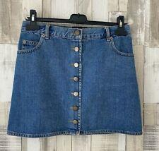 ASOS Blue Denim Button Front Mini Skirt Size 8 Petite