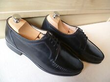 Grenson black moccasin UK 7 41 vtg Made in England bench made hand sewn *Wide