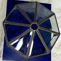 Vintage Ceiling Flush Mount Light Octagonal Brass Fixture Clear Beveled Glass