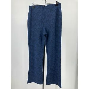 New Urban Outfitters Pant Blue Floral Textured Pull On Flare High Rise Sz Large
