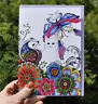 Henna Cat card, drawn and printed in UK birthday, blank greetings celebration