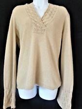 ANN TAYLOR Cashmere Sweater SMALL Beige Gold Metallic Crochet Womens Size S