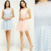 RRP £37 EX QUIZ Blue or Pink Crochet Mesh Skater Sleeveless Wedding DRESS 6-16