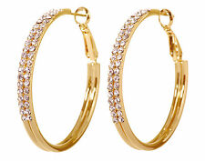 Pierced Earrings Gold Authentic 7222a Swarovski Elements Crystal Double Row Hoop