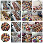 SPECTRUM QUALITY HANDCARVED ABSTRACT SOFT RUG MULTI RAINBOW CARPET ROUND RUNNER