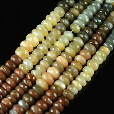 1 Strand Natural Quality AAA+ Multi Moonstone Loose Gemstone New Rondelles Beads