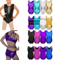 Girls Kids Child Leotard Dance Ballet Gymnastics Metallic Bodysuit Top Dancewear