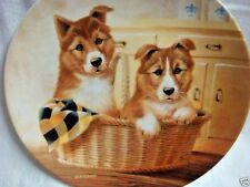 """""""Paws for a Picnic"""" Collie Pups Collector Plate by Lynn Kaatz - 1993"""