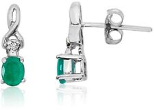 14K White Gold Oval Emerald & Diamond Earrings E2521W-05