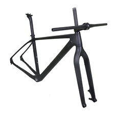 "21"" 29er Carbon Mountain Bike Frame Fork Handlebar Stem Matt 142mm Thru Axle BSA"